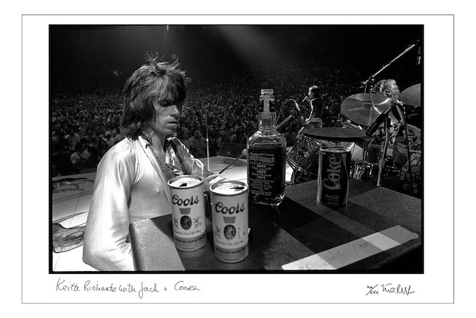 Keith Richards with Jack and Coors 1972 (24x35 choice).
