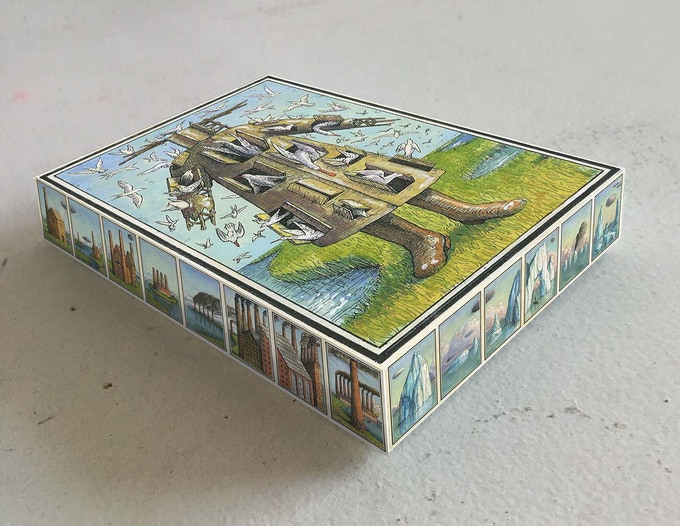 A mock-up of the commercial edition tuck box