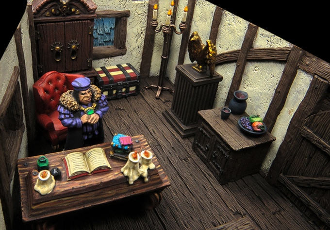 Herman plotting in his manor. Building by Tabletop-World, furniture by TTW, Zealot, Thomarillion, HQ-Resin & Mantic
