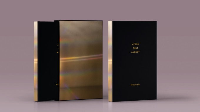 A rendering of proposed designs for the book + slip cover (left) and the book solo (right).