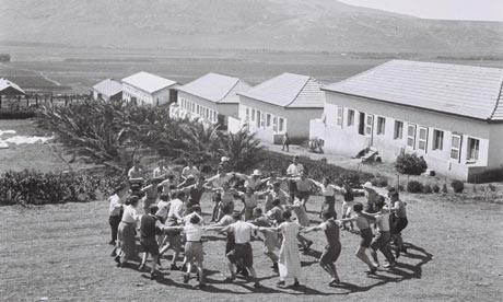 Settler pioneers dancing hora at Kibbutz Ein Harod in the Jizreel Valley 1930s