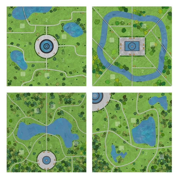 The game comes with two boards each with two unique maps on it for maximum replayability! In order from left to right and top to bottom are: the standard map, the harder variant map, one based on the Boston Public Garden, and the other based on Central Park.