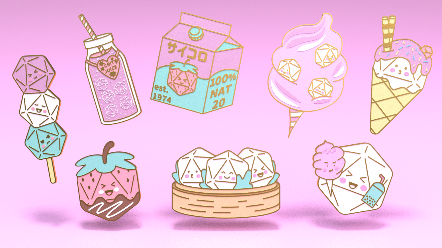 A set of Dice enamel pins mixed with delicious food!
