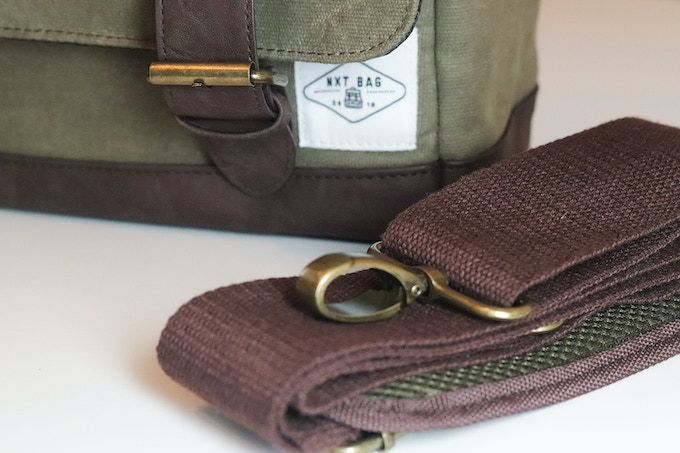 """nXtBag2 Heavy duty 12oz waxed canvas, Heavy  Duty stitching, Leather base and leather closing straps, 50mm/2""""adjustable shoulder strap."""