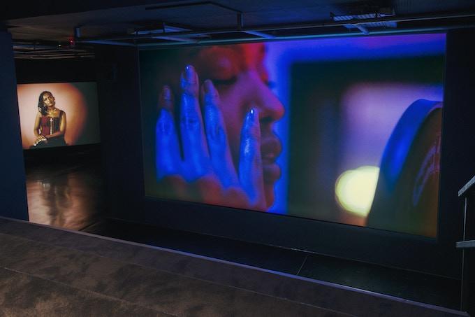Wu Tsang, Under Cinema (2017). Installation view: Under Cinema at FACT, UK (26.10.2017 – 18.02.2018). Courtesy of the Artist and Galerie Isabella Bortolozzi, Berlin. Photo: Jon Barraclough