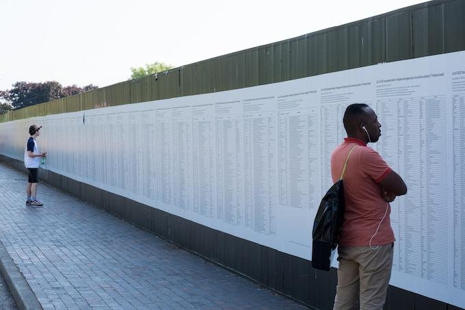 Banu Cennetoğlu's The List. Photo by Mark McNulty for Liverpool Biennial