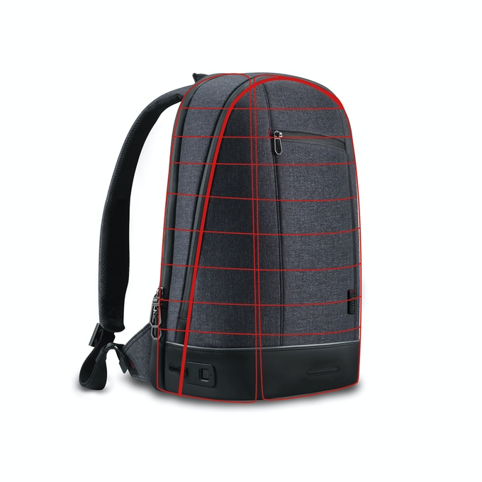 The backpack stands up when set-down and will not collapse like most traditional backpacks.