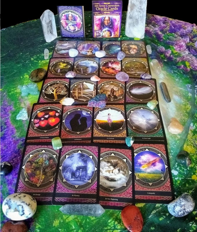 A Sample of 6th Sense Connection Oracle Cards, Guidebook And Box