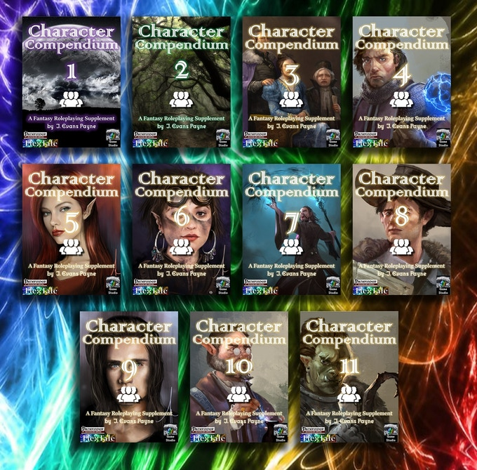 Ultimate Character Compendium Bookshelf (cover designs DRAFT for 3-11)