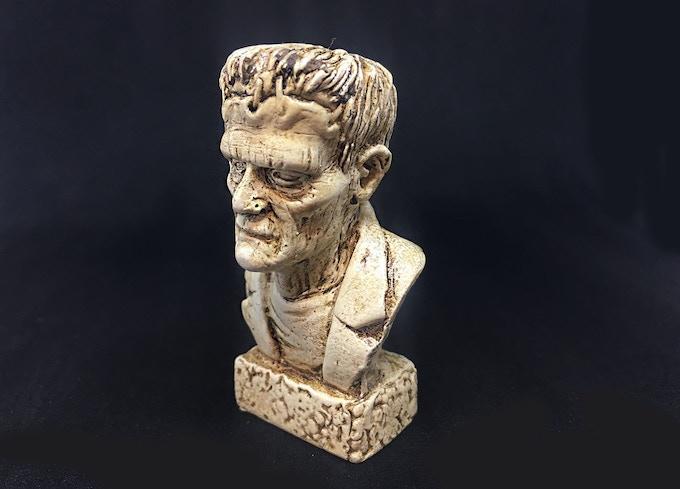 Frankenstein bust detail, hand painted in bone finish