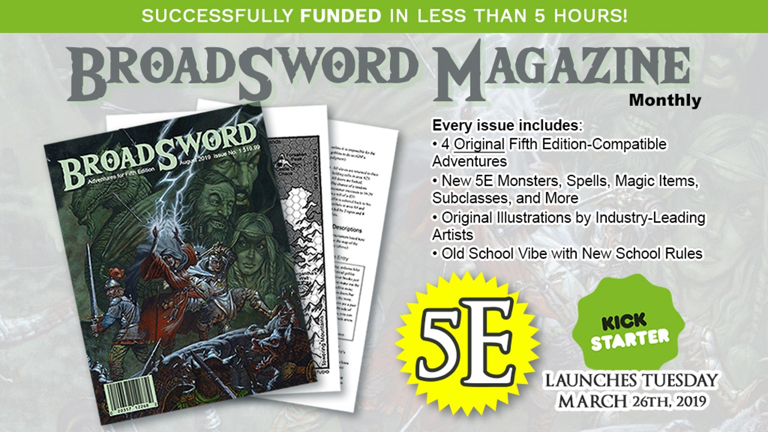Monthly Fifth Edition adventures in old school printed magazine format (available in PDF, too!)