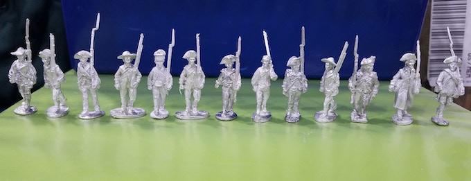 L to R: Perry, Brigade Games, Fife and Drum, BG, King's Mountain, BG, Old Glory 2nd Ed.,  BG, Wargames Foundry, BG, Front Rank, BG, Eureka
