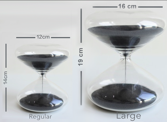 The Large glass is our executive edition: 40% larger and 3x bigger. The Large glass has louder white noise. Both are 25 minute timers. Borosilicate glass with 4 million iron nanospheres.