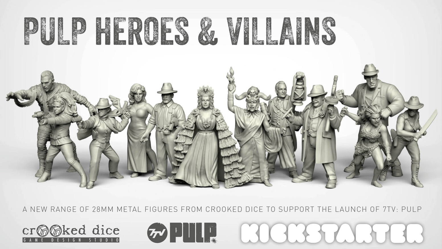 A short campaign to launch a range of pulp 28mm miniatures to support the upcoming release for the 7TV: Pulp skirmish wargame.