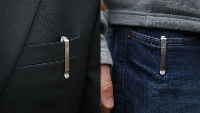 The deep carry titanium pocket clip functions well in both business and casual environments
