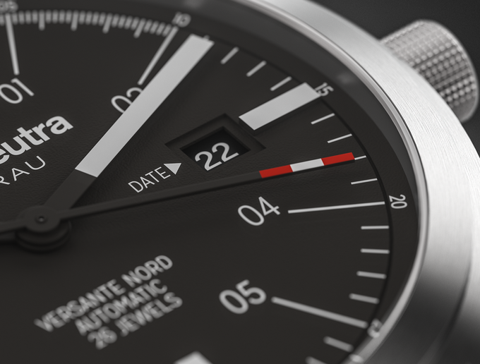 Detail of the date window and the typical seconds hand tip