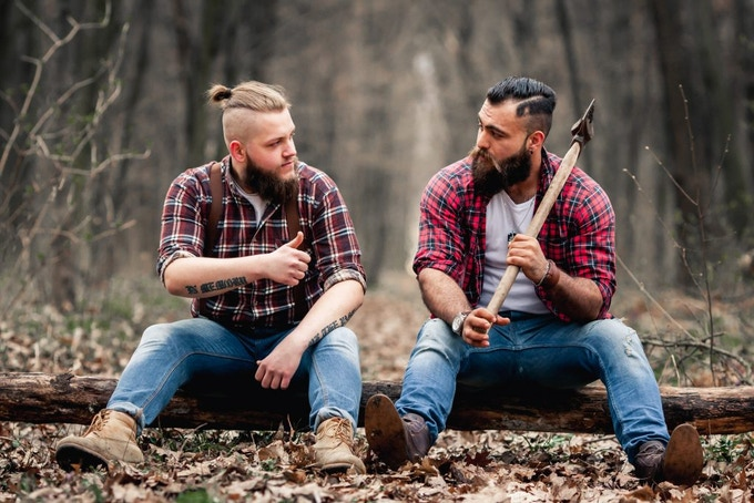 lumbersexual (slang, sometimes used attributively): A male hipster who affects a rugged, outdoorsy look, typified by plaid shirts and a full beard.