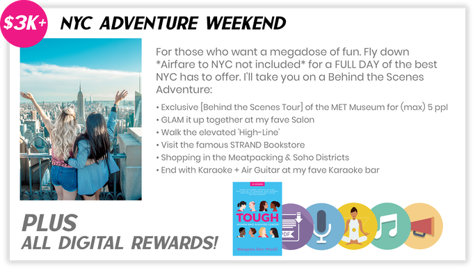 "Pledge $3000 or more and select the ""NYC Adventure Weekend Package"" to receive the items above."
