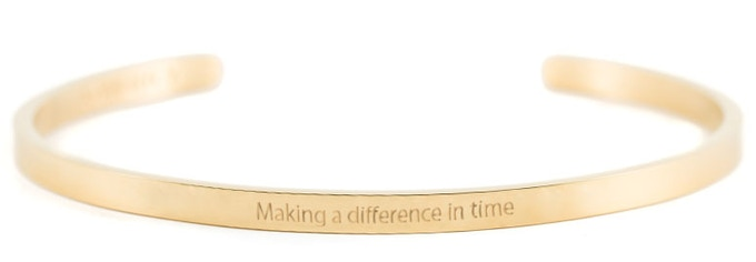 Gold Bracelet - Making a difference in time (please note that the text on the bracelet is an illustration, indicating the look of the final design)