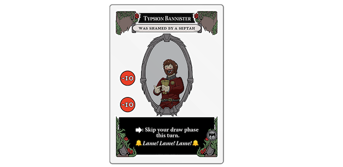 Typsion Bannister's character card overlaid with the Shamed by a Septah Modifier. Transparent cards let certain parts of the cards beneath show through.