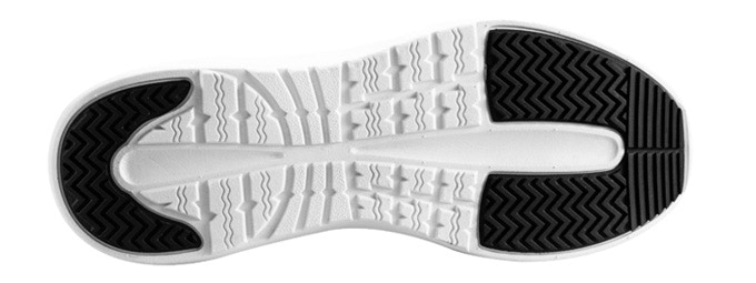 Lightning Gray has a black and white tread.