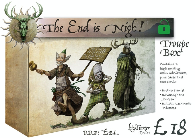The End is Nigh Troupe Box contains Brother Daniel, Kavanagh the Jongleur and Kalista Leshavult Priestess