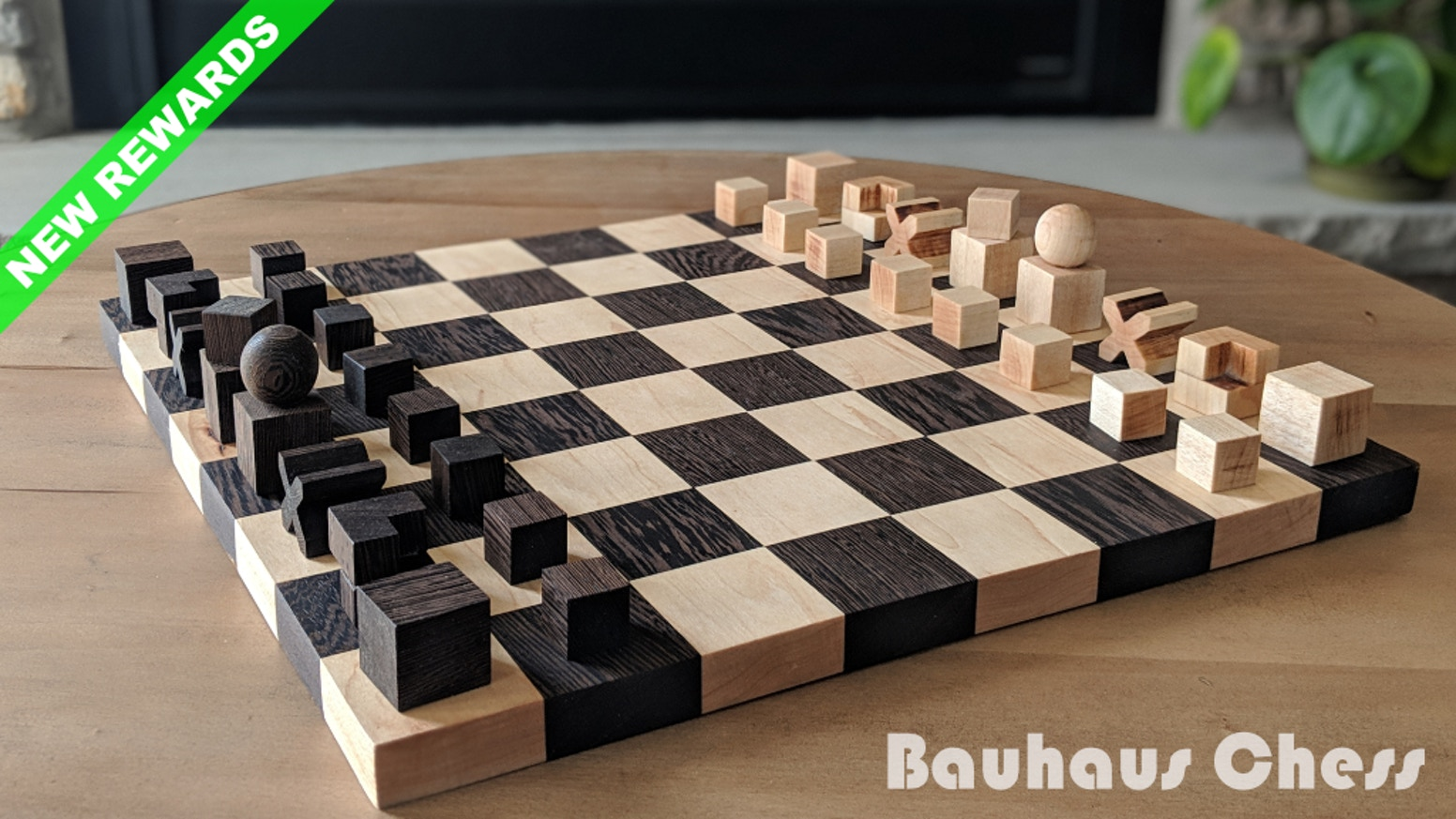 Bauhaus Chess is a handmade replica of Naef's famous 1924 design. It transforms pieces into geometric symbols based on their functions.