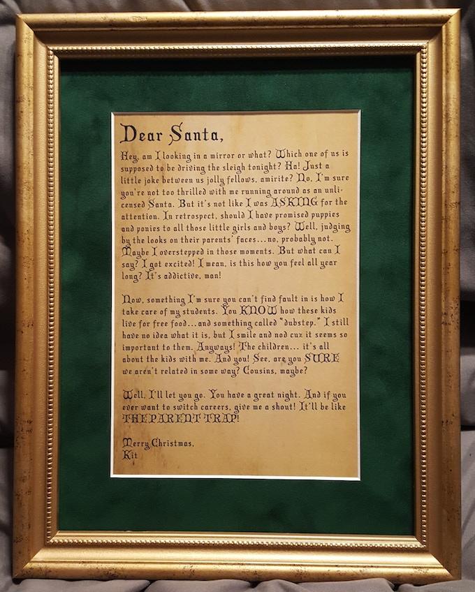 Framed letter from November's campaign (framing not included—courtesy of Kit K.)