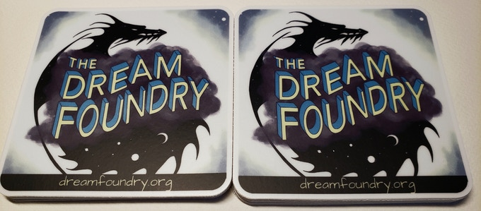 Dream Foundry stickers with space dragon logo