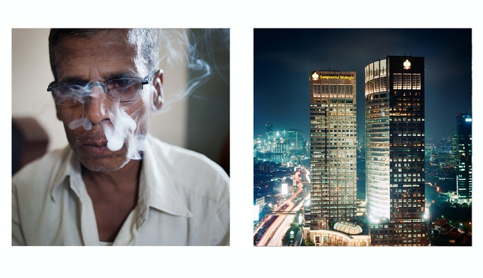 Left: Nipani, India, A tobacco taster smokes up to 100 bidis/day in order to grade the different batches of tobacco; right: Jakarta, Indonesia. The Sampoerna Strategic Square, built by Putera Sampoerna, owner of the largest tobacco company of Indonesia.
