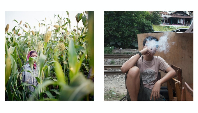 Left: Akkol, India. Dipali Lohar during tobacco harvesting in a mixed tobacco and sorgum field; right: Jakarta, Indonesia. A young smoker.