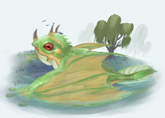 A frogbeast, sitting with its wings splayed in the floodgrass, a cat perched on its head. - By Orion