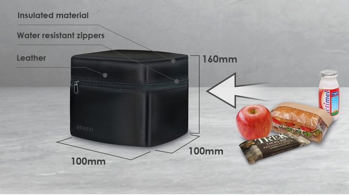 The Agazzi thermal lunch pack enables you to contain your sandwich, snack, fruit and anything you need to fuel your day preserving their temperature and keep them separate from the rest of your stuff.   (approx. 4'' x 4'' x 6.3'')