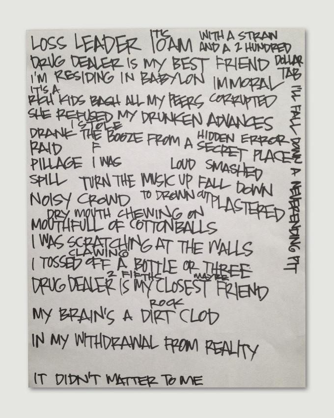 Handwritten lyric sheet by Keith Morris