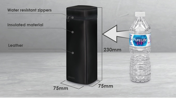 The Agazzi thermal bottle holder enables you to contain beverages preserving their temperature and keep them separate from the rest of your stuff.  (approx. 3'' x 3'' x 9'')