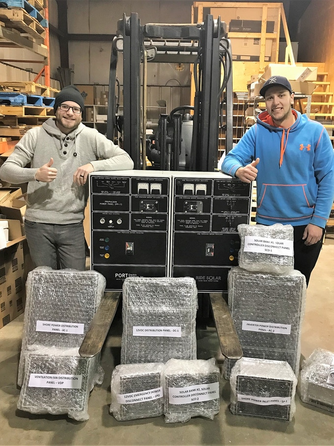 Jordan Johnson (left) and Brandon Street (right) at Port Electric Solutions in Newfoundland with our electrical panels ready to be shipped to PEI upon successful completion of our Kickstarter campaign.