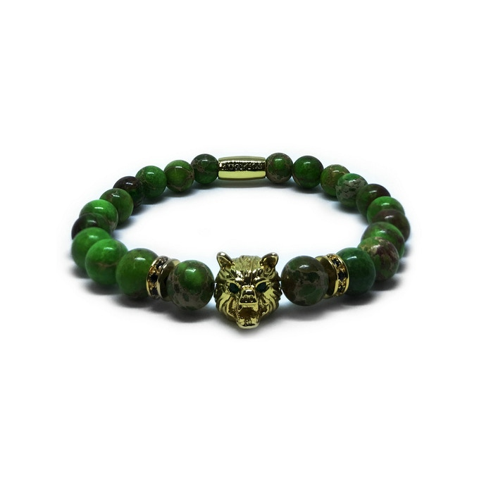 WOLF SPECIAL EDITION: GOLD WOLF - GREEN JASPER