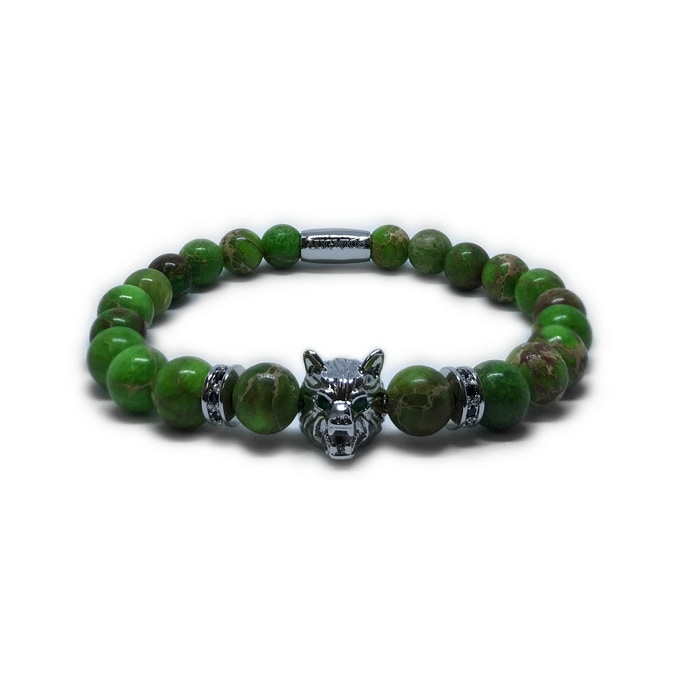 WOLF SPECIAL EDITION: SILVER WOLF - GREEN JASPER