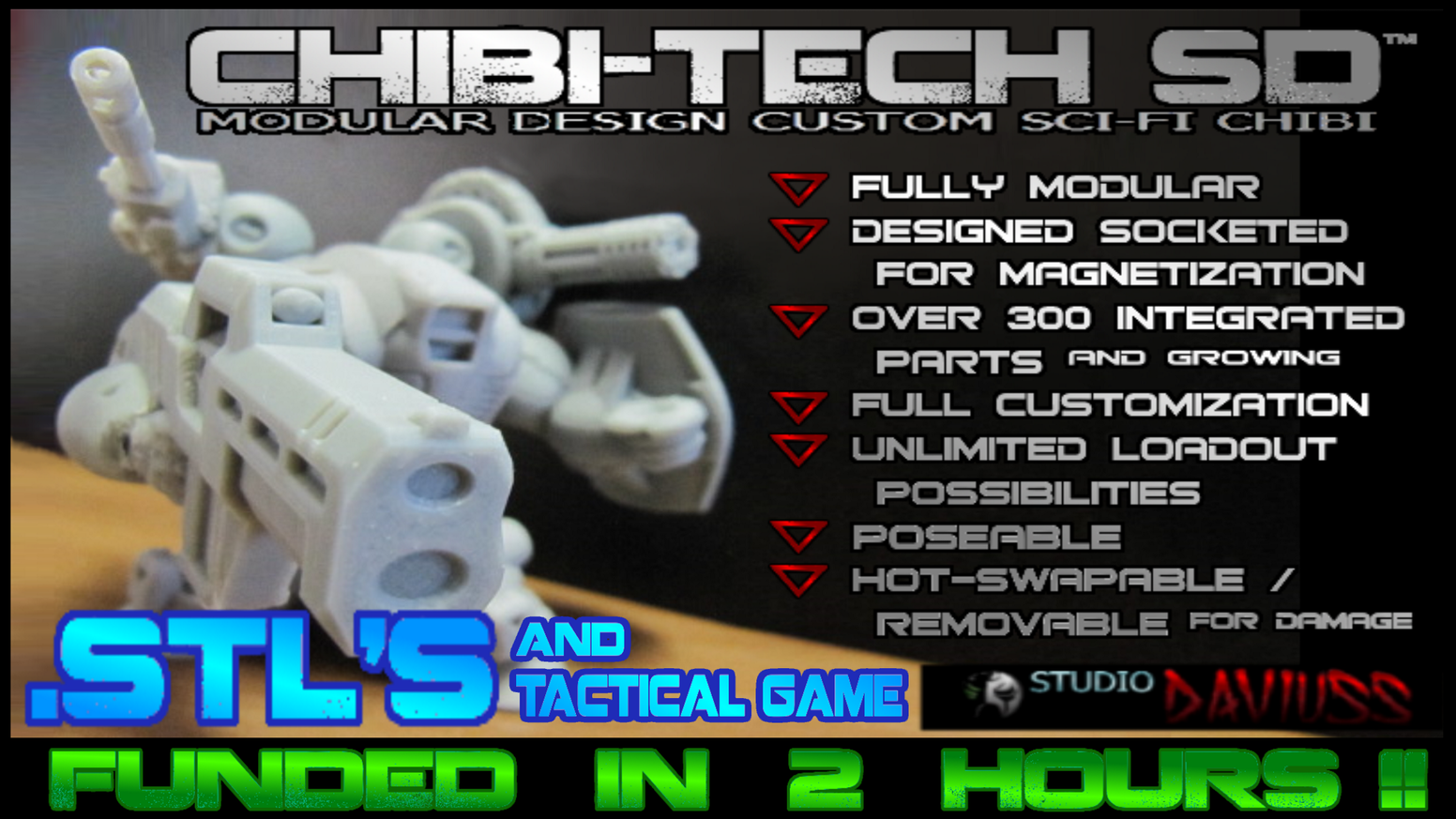 CHIBI (SUPER-DEFORM) MODULAR MECHA .STL FILES & TACTICAL TABLETOP GAME