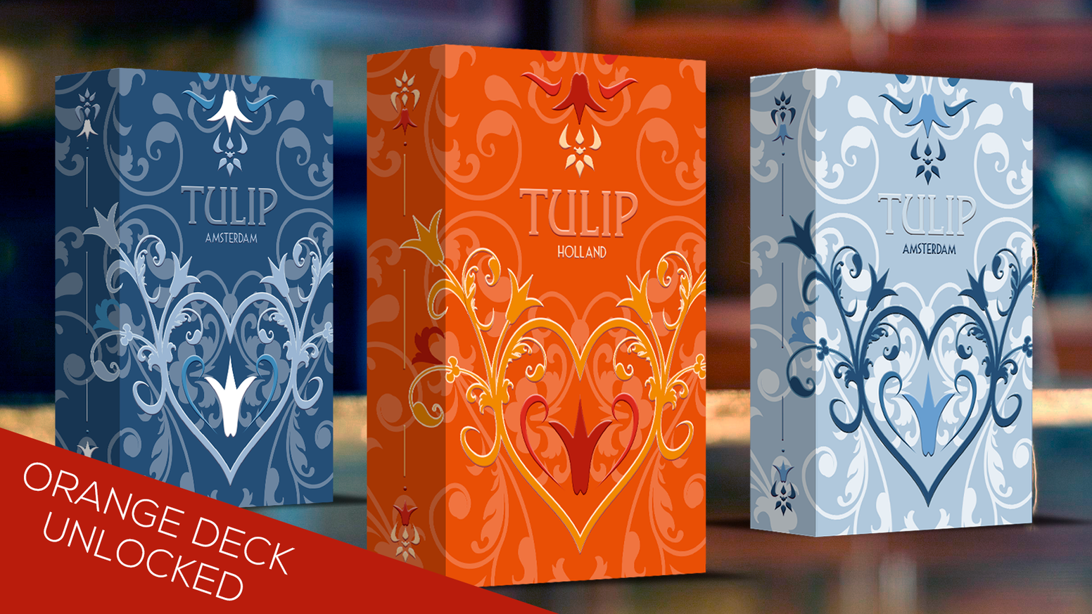 Three luxury decks of collectible playing cards with a tribute to the beautiful Dutch Tulips.
