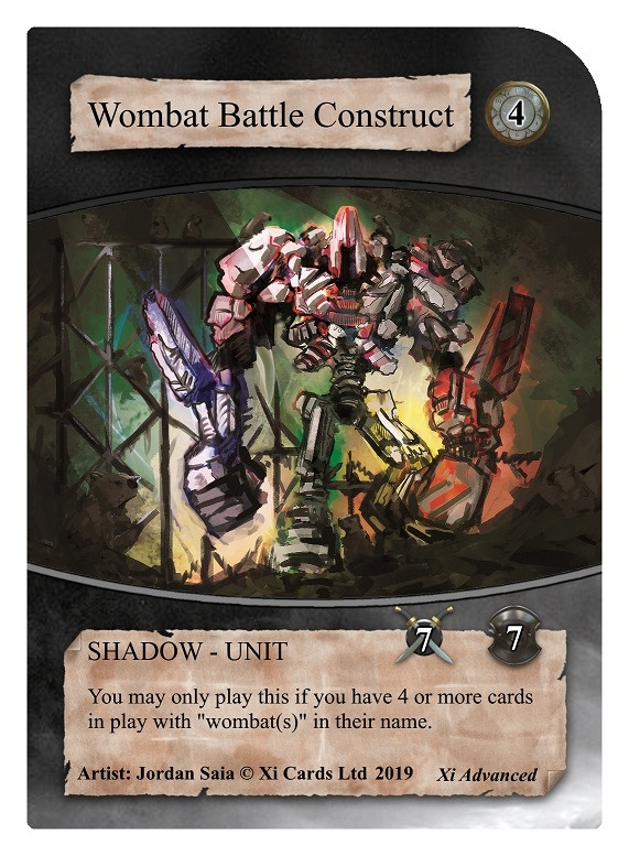 Wombat Battle Construct - Our limited edition card for this kickstarter