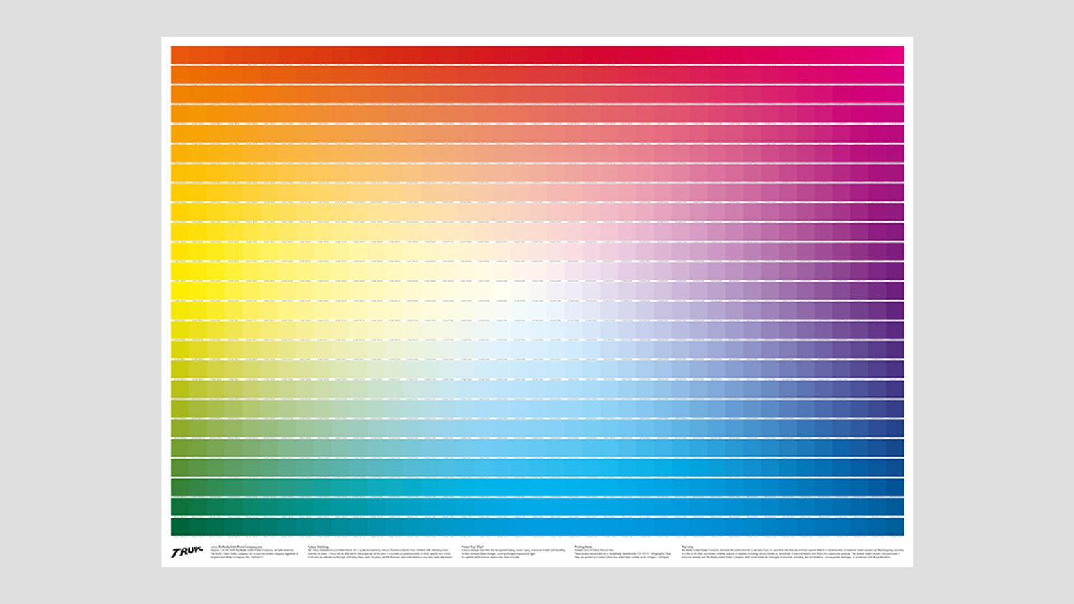The Really Useful CMYK Colour Chart displays 1025 unique colour swatches and their 4-colour (CMYK) breakdowns, on 1 convenient poster!
