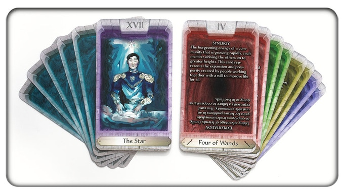 Samples of the Major Arcana and card backs (left), and the Minor Arcana in four suit colors (right).