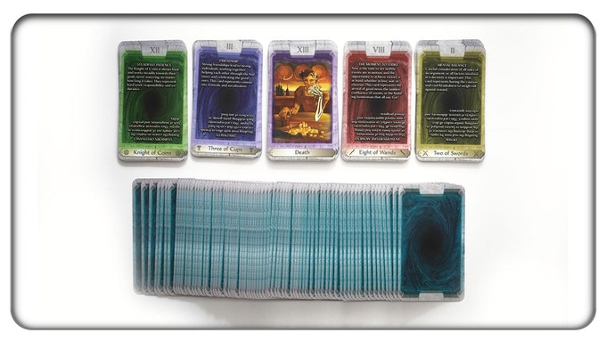 Samples of the illustrated Major Arcana, the four suits with explanatory text, and the backs of the cards.
