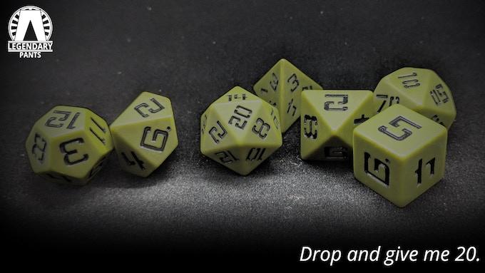 OG-107: Black numbers on matte olive dice