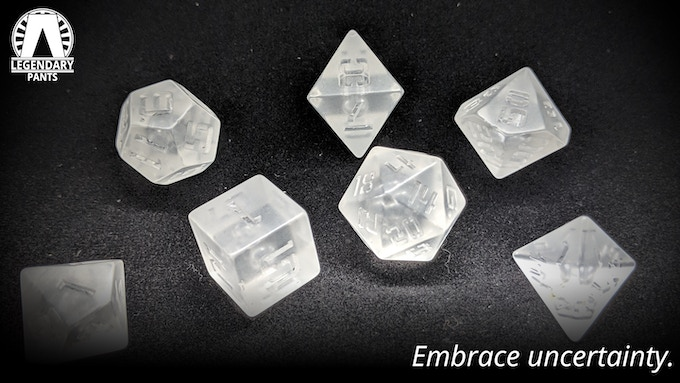 Heisenberg: Clear dice with no ink