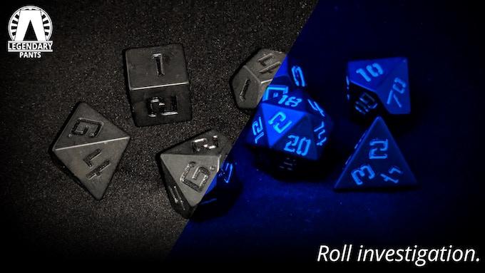 CSI: UV-reactive numbers on matte black dice