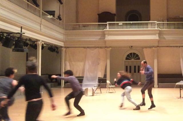 Autumn Leonard, rosza/daniel lang/levitsky, zavé martohardjono, Hadar Ahuva, Oren Barnoy in process at Danspace Project January 2019