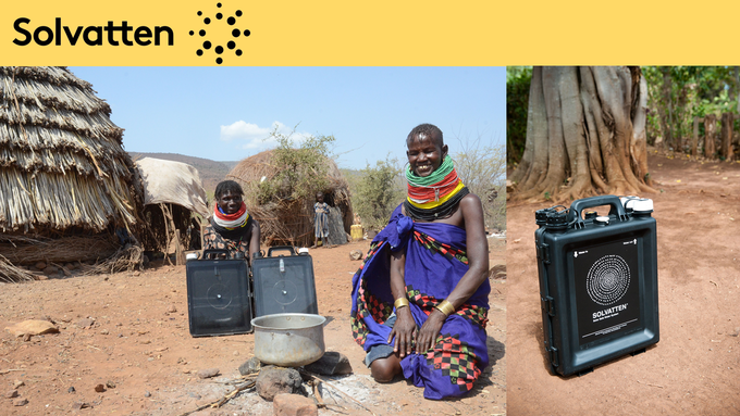 Leslea and her friend Chingy, in Songot in Turkana, Northwest Kenya, are two of more than 200 000 users of this fantastic Swedish invention, heating and purifying water solely by the aid of sun rays. Photo: David Wadström
