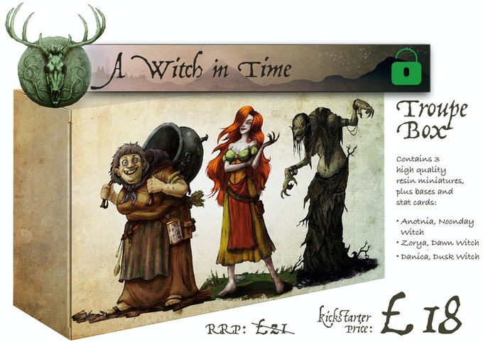A Witch in Time Troupe Box contains: 'Antonia, Noonday Witch', 'Zorya, Dawn Witch' and 'Danica, Dusk Witch'